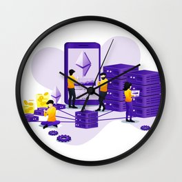 Ethereum Mining Cryptocurrency Design Wall Clock