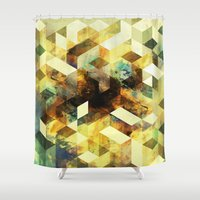 oil Shower Curtains featuring Oil cubes by Tony Vazquez