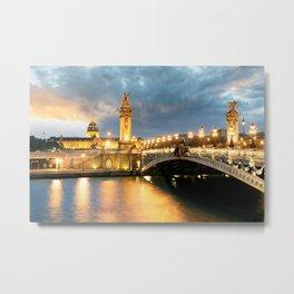Night view of Paris Bridge Alexandre III Metal Print
