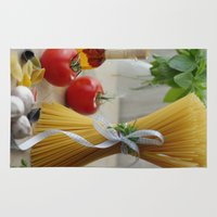 pasta Area & Throw Rugs featuring delicious pasta by Tanja Riedel