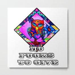 No Fucks to Give Cute Owl Metal Print