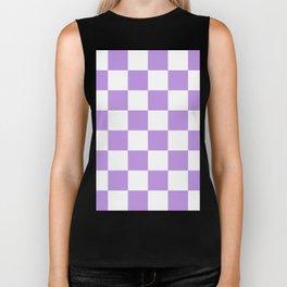 Large Checkered - White and Light Violet Biker Tank