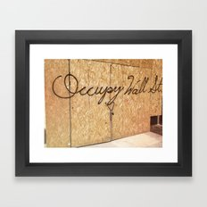 Occupy Wall Street on Storefront Photo Framed Art Print