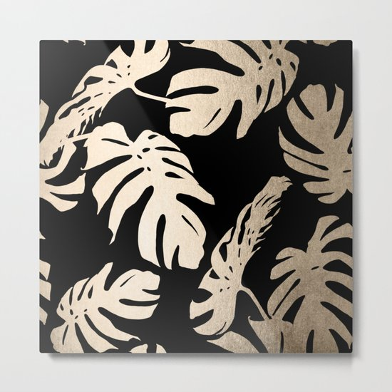Simply Palm Leaves in White Gold Sands on Midnight Black Metal Print