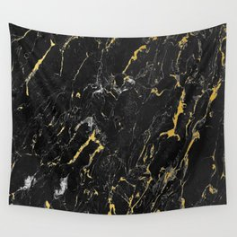 Gold Flecked Black Marble Wall Tapestry