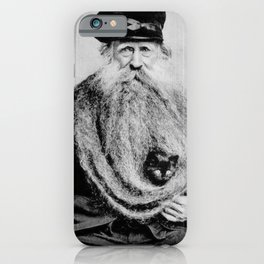 Kitten in the Beard of Old Man black and white photograph iPhone Case