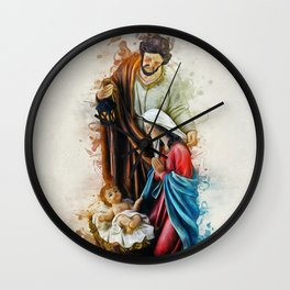 Joseph Mary and Jesus Wall Clock