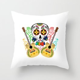 """When """"No Music No Life"""" Shirt """" With A Colorful Illustration Of A Guitar And Skull T-shirt Design Throw Pillow"""