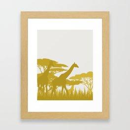 Giraffe on the Savannah Framed Art Print