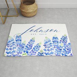 Johnson family sign with Texas bluebonnets (Message me for a different family name and date) Rug