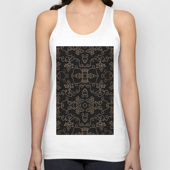 Elegant gold embellishments on black Unisex Tank Top