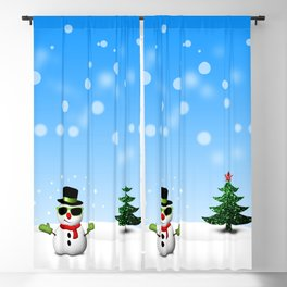 Cool Snowman and Sparkly Christmas Trees Blackout Curtain