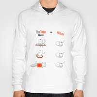 youtube Hoodies featuring Youtube Cats vs Reality by The Blue Colibri