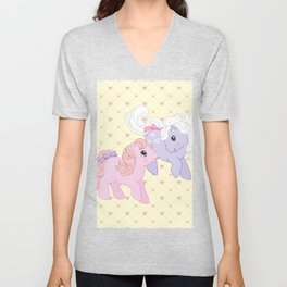 g1 my little pony babies Cotton Candy and Blossom Unisex V-Neck