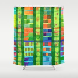 Colored Fields With Bamboo Shower Curtain