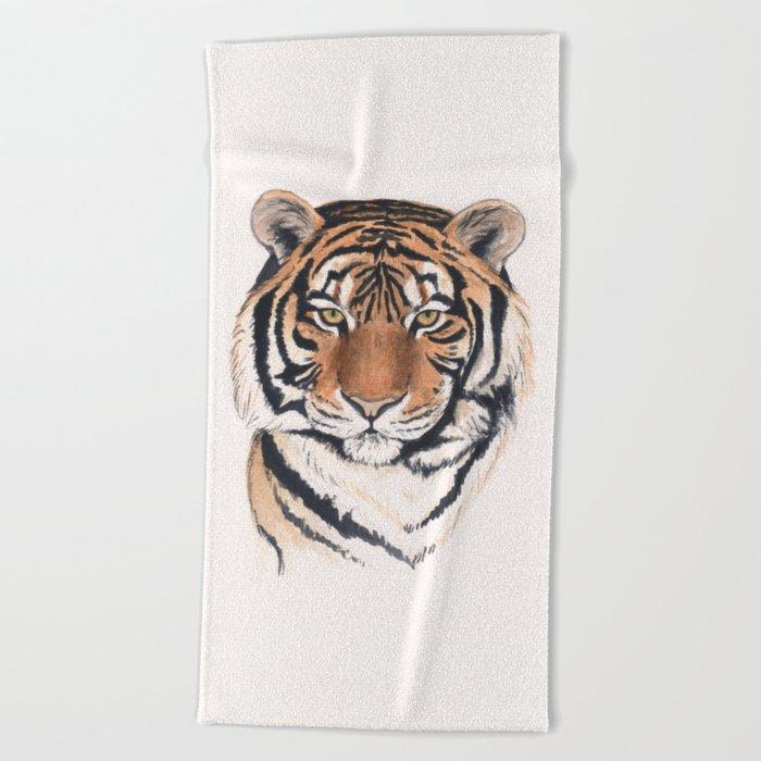 Tiger portrait watercolor Beach Towel