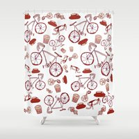 bikes Shower Curtains featuring Bikes and Coffee by Effie Dee