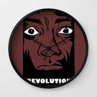political Wall Clocks featuring political revolution, fight for your rights by gran mike