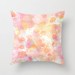 Pink Orange Floral Explosion Throw Pillow