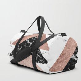 Modern rose gold glitter foil black white marble geometric minimalist triangles color block Duffle Bag