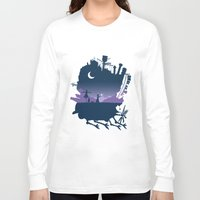 calcifer Long Sleeve T-shirts featuring Sophie and Calcifer by maped