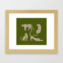 Leopard Block Party - Olive Framed Art Print