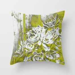 Chartreuse Green Hen and Chicks Throw Pillow