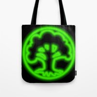 magic the gathering Tote Bags featuring Magic the Gathering, Neon Green Mana by Thorn Blackstar