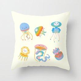 Pastel Jellyfish Throw Pillow