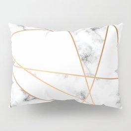 White, Gray, Gold Marble Geometric Pattern Pillow Sham
