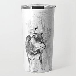 Eskimo dog and Polar bear pointillism illustration Travel Mug