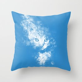 abstract young cat wswb Throw Pillow