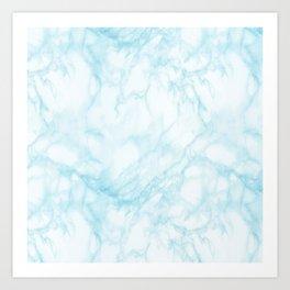 Elegant pastel blue white modern marble Art Print