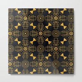 Glitzy Glamorous Gold and Black Art Deco Design Metal Print