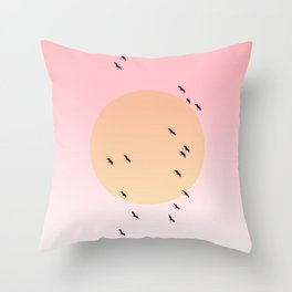 Birds Flying Sunset Throw Pillow