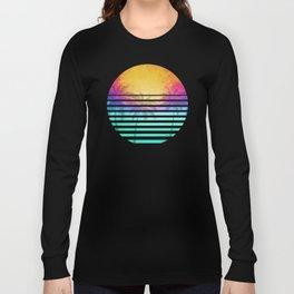 Vintage Retro 80's Synthwave Sunset Palms Long Sleeve T-shirt