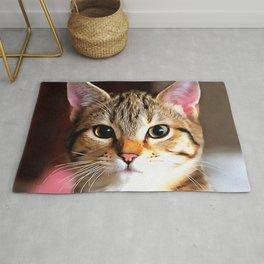 Artistic Tabby Cat Kitten Portrait Rug