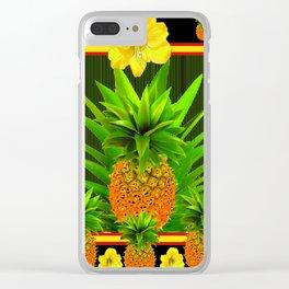 HAWAIIAN TROPICAL FLORAL-PINEAPPLES BLACK ART Clear iPhone Case