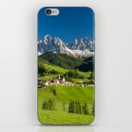 Santa Maddalena village in front of the Geisler or Odle Dolomites Group , Val di Funes, Italy iPhone Skin