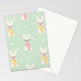 White rabbit Christmas pattern 001 Stationery Cards