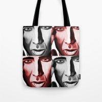 nicolas cage Tote Bags featuring Nicolas by ArtChickStudio