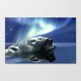 Aurora Dreaming - Swimming Polar Bear Canvas Print