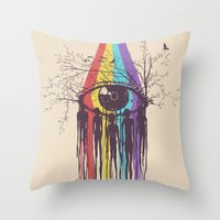 future Throw Pillows featuring Look into the Future by Norman Duenas