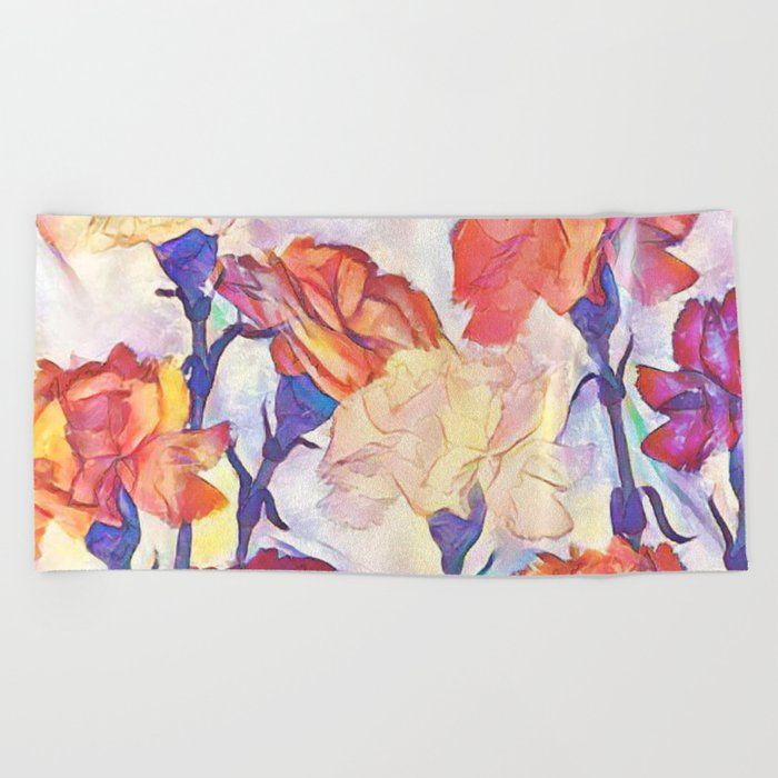 Painted Carnations Beach Towel