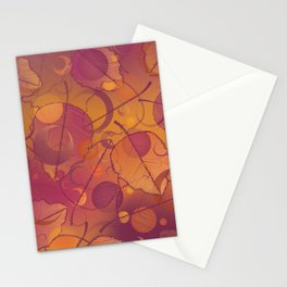 Floating Leaves Pattern III - Autumn, Pink Violet Stationery Cards