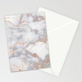 Gray Marble Rosegold  Glitter Pink Metallic Foil Style Stationery Cards
