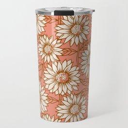 Coral Sunflowers Travel Mug