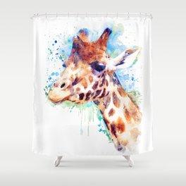 Giraffe Watercolor Portrait Shower Curtain