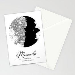 Maracaibo Area City Map, Maracaibo Circle City Maps Print, Maracaibo Black Water City Maps Stationery Cards
