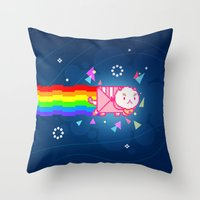 puppycat Throw Pillows featuring PuppyCat by NicoleGrahamART
